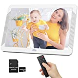8 Inch Digital Picture Frame 1920x1080 Photo Viewer HD IPS Screen, 2.4G Remote Controller, Auto Play, Include 32GB SD Card, Support Max 128GB USB Drive, SD, MMC, MS Card - White