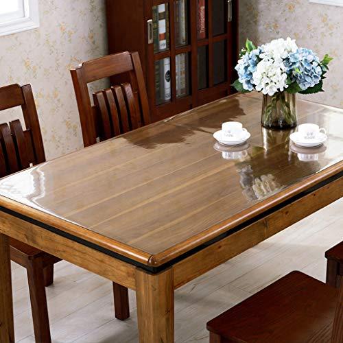 Nappe Transparente,PVC Imperméable Anti-brûlure En Plastique Doux Verre Mat Table De Thé Table De Thé Rectangle Square Étui De Protection (Couleur : Transparent 2mm, taille : 80cm*140cm)