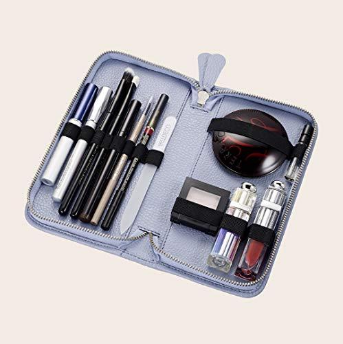 Pericosa Damen Kosmetiktasche KATIE klein hellblau | Leder mit Fächern| für unterwegs für die die Handtasche | Luxus Schminktasche für Make up | Kosmetiktäschchen Kosmetikbeutel in chic blau