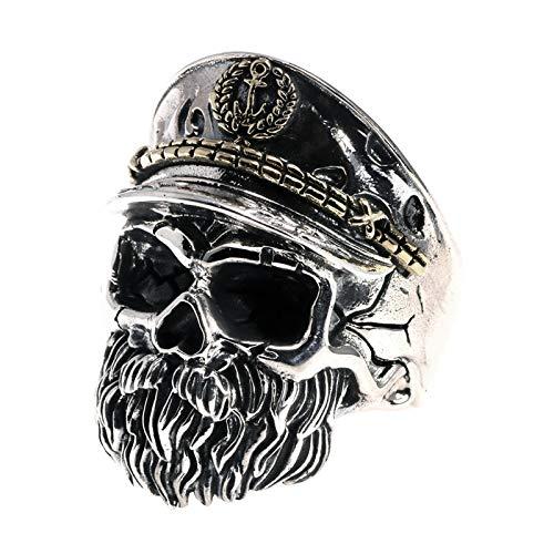 Anillos, Anillo de Calavera de Plata de Ley 925 para Hombre Pirata Ajustable Capitán Esqueletos de Punk Rock Vintage Joyería Gótica