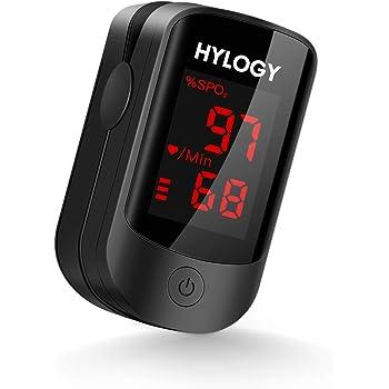 HYLOGY Pulsossimetro, saturimetro da dito per frequenza cardiaca e livello SpO2 con display a LED adatto, batteria, cordino e borsa per il trasporto inclusi
