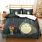 Earendel Totoro Theme Bedding 3D Duvet Cover Set Cartoon Japanese Anime Bed Sets 2/3/4PCS Quilt Covers/Sheets/Pillowcases,Twin/Full/Queen/King Size (Twin-172x218cm-4PCS,2)