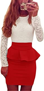 Sexy Women Bandage Peplum Waist Bodycon Dress Lace Splice O Neck Long Sleeve Evening Party Mini Dress Night Clubwear