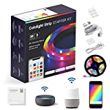 LifeSmart Strip Lights Work with Apple HomeKit, 2.4GHz WiFi Rope Light Compatible with Siri, Alexa, Google Assistant, Smart Color Changing Music Sync Remote, 6.6ft/2M SMD 5050 RGB Tape Light, 30LEDs/M