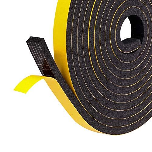 Dichtungsband Selbstklebend 12mm(B) x6mm(D) Schaumstoff Klebeband Fenster-Türdichtung kochheld, Gummidichtung für Kollision Siegel Schalldämmung Gesamtlänge 8m (2 Rollen je 4m lang) Schwarz
