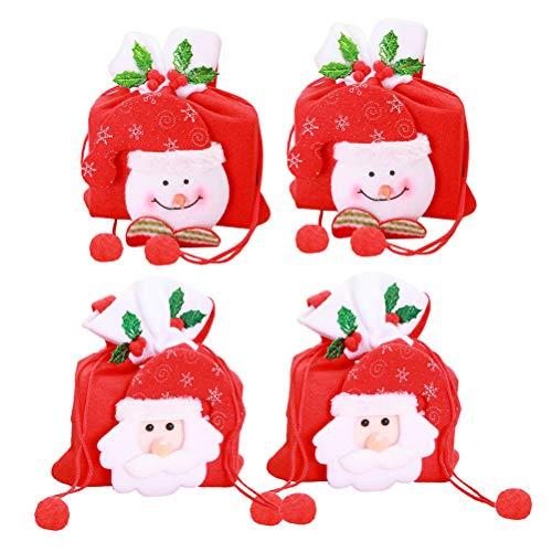 Toyvian 4 stks Tassen Aanwezig Zak met Kerstman Sneeuwpop Patronen Kids Candy Treat Tassen Xmas Vakantie Party…