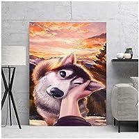 アートパネル ZXYFBH キャンバスタッチ犬かわいい美しいクールなプリントポスター寝室の家の装飾絵画モジュラー写真19.7x27.6in(50x70cm)x1pcsフレームなし