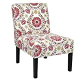 Homegear Home Furniture Accent Armless Chair - Contemporary Designs - Floral