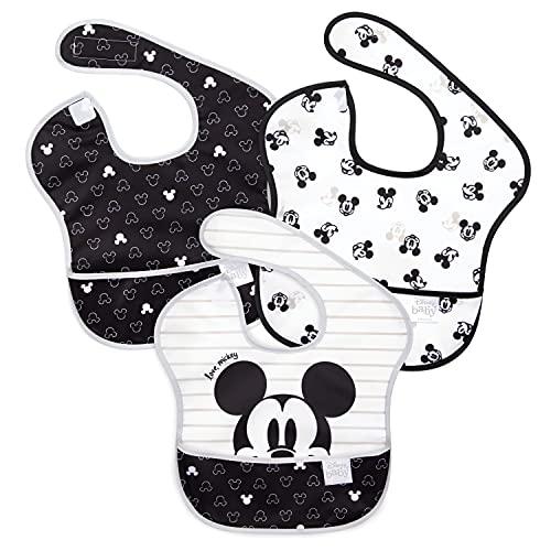 Bumkins Disney SuperBib, Baby Bib, Waterproof, Washable, Stain and Odor Resistant, 6-24 Months, 3-Pack - Love, Mickey (S3-DMK11)