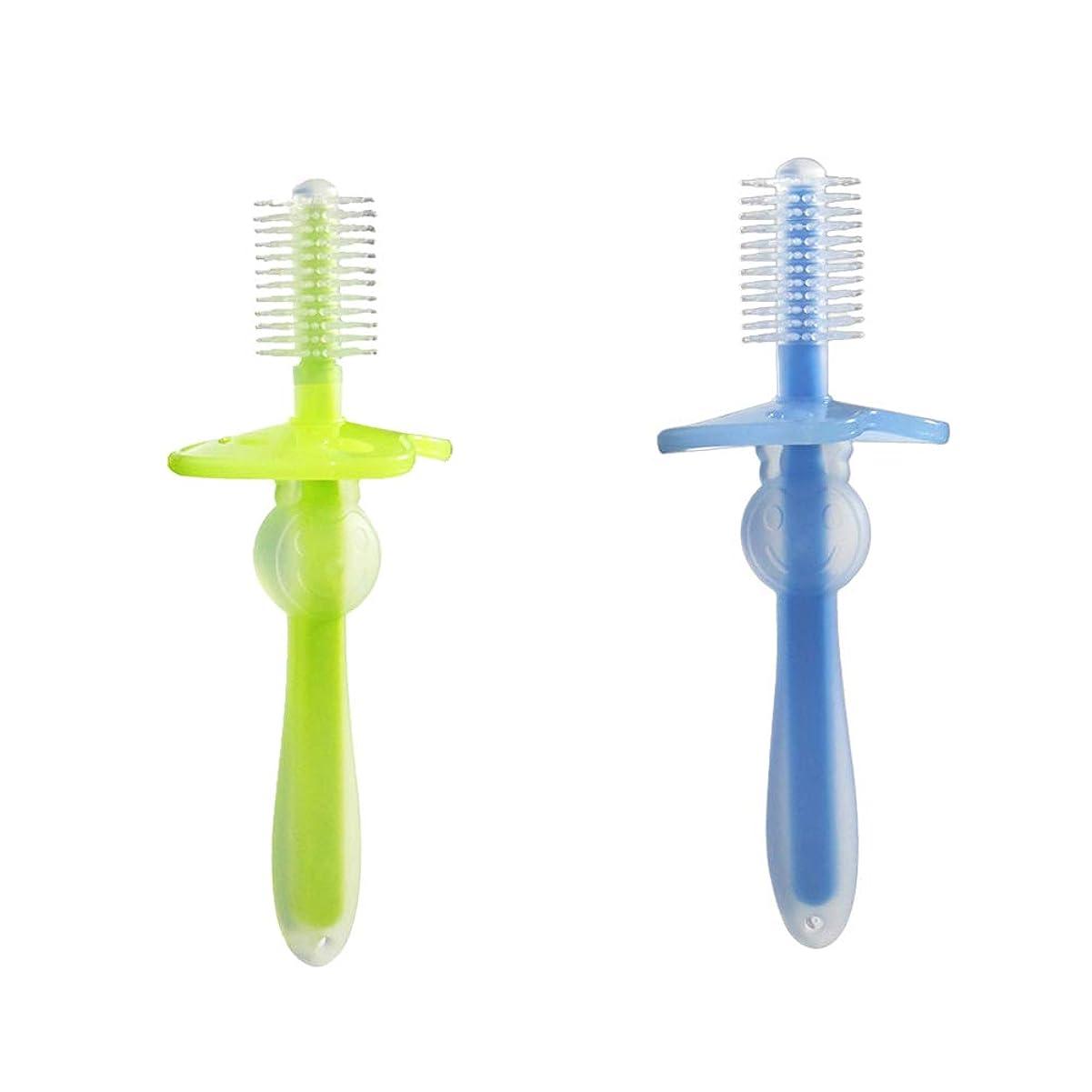揮発性ズボン損傷Healifty 歯ブラシ シリコン 360°ベビー歯ブラシ 幼児 柔軟なトレーニング歯ブラシ 2ピース(緑と青)