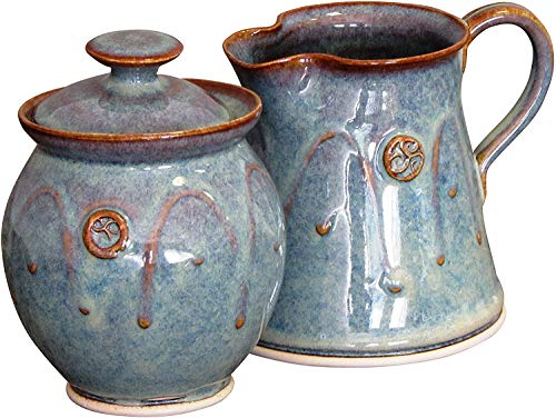 Handmade Irish Pottery Sugar and Creamer Set in Green 4 x 4 Holds 10 Ounces