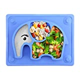 Kids Plates Baby Suction Placemat - SILIVO Non Slip Silicone Toddlers Placemat with Suction Cups for Babies, Kids and Children - (10'x7.8'x1.1')