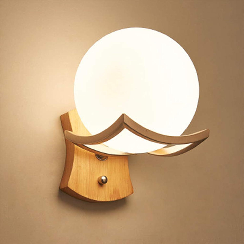 ZQH Kreativ Massivholz Wandlampe, Modern Hlzern LED Wandleuchten E27 Schlafzimmer Nachttischlampe für Wohnzimmer, Hotel, Flur, Treppe Leuchter Dekorativ,D15CM