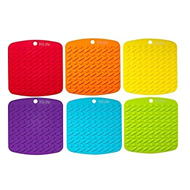 Premium Silicone Pot Holder,Trivets,Hot Mitts,Spoon Rest And Garlic Peeler Non Slip,Heat Resistant Hot Pads,Multipurpose Kitchen Tool. 7x7  Potholders(Set of 6) Non Slip,Dishwasher Safe,Durable.