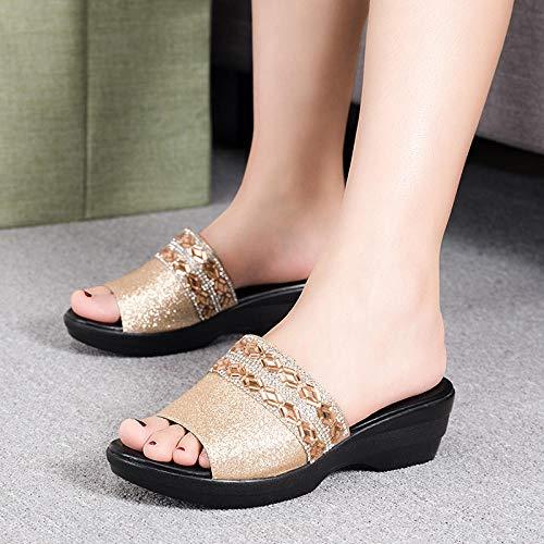 offenen Zehen Sandalen Damen,Frauen Plus Größe Strass Chunky Heel Hausschuhe, Mutter trägt Ledersandalen-Gold_39,Duschschuhe Hausschuhe