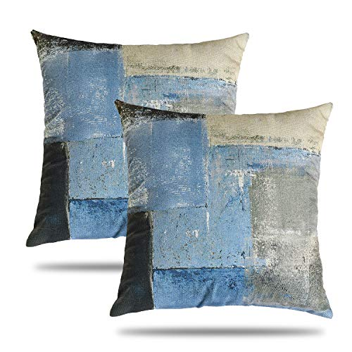 Tosewever - Set di 2 federe per cuscini artistici astratti, in lino, per camera da letto, divano, soggiorno, 45,7 x 45,7 cm, decorazione moderna per la casa (blu/marrone, 45,7 x 45,7 cm)
