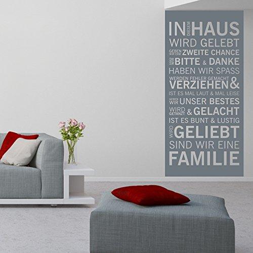 malango® Wandtattoo Familienspruch In diesem Haus Wird gelebt Wandbanner Wandspruch Tattoo Banner Familie Spruch ca. 47 x 100 cm grau