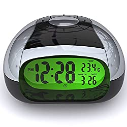 Digital Clock Temperature and Talking Alarm Clock with LCD Display LCD,Simple Electronic Talking Clock(Silver) (AC01)