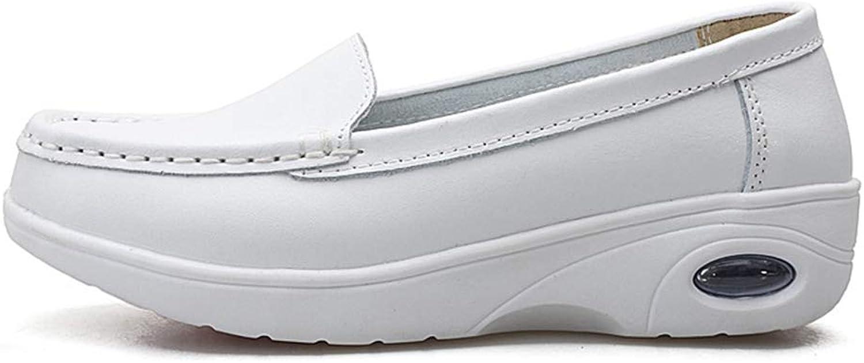August Jim Women Loafers shoes,Nurse Flats shoes Women Autumn Sneakers White