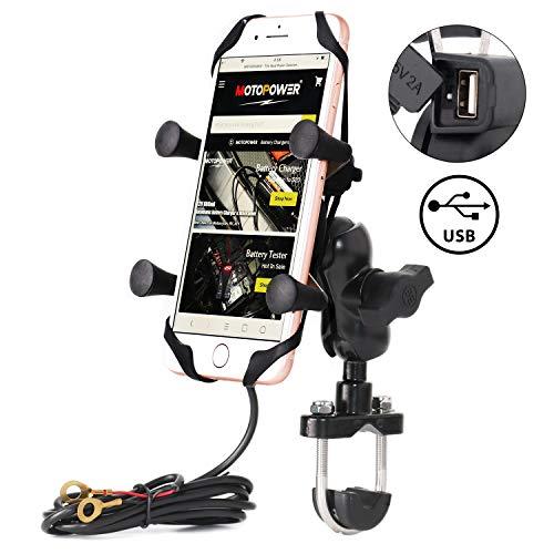 MOTOPOWER - Supporto per telefono cellulare da moto, con caricatore USB, universale, per mountain bike e strada, per cellulare, GPS o fotocamera sportiva