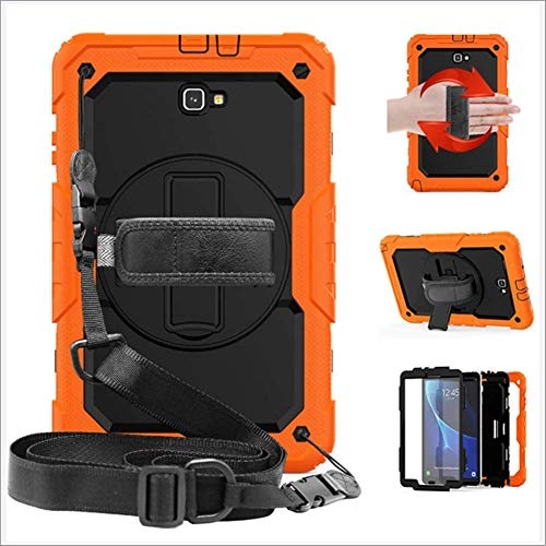 Galaxy Tab A 10.1 Case, for Samsung Galaxy Tab A 10.1 SM-T580/T585, Full Body Heavy Duty Cover Case with Built-in Screen Protector,Rotating Stand,Hand Strap and Shoulder Strap,Orange