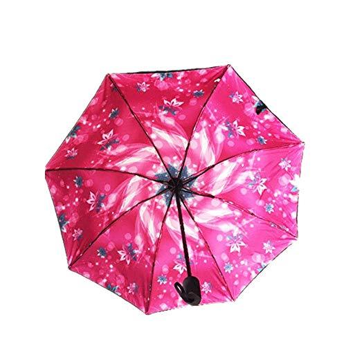 YNHNI Paraguas Plegables Triple Plegable Impacto paño protección Sol Sol Lluvia y Sol sombrilla sombrilla,Portátil (Color : Rose Red)