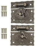 FUXXER®, 2 Serrature anticate, chiusura a gancio, design in bronzo, serrrature per cassette scorrevoli, 50 x 42 mm, con viti, 2 set