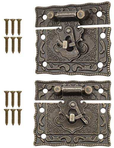 FUXXER® - 2x Antike Verschlüsse, Rast-Haken, Schloss, Bronze Eisen Design, Beschläge für Truhen Kisten Schieber, 50 x 42 mm inkl. Schrauben, 2er Set