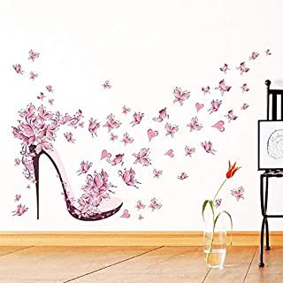 Pink butterfly high heel pattern wall sticker Removable art decal Cosy Home decor for Bedroom Sitting room for girls