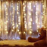 Ipow Cortina de luces 304 LEDs 3x3㎡ Blanco Cálido, Guirnalda luces enchufe decorativa exterior/interior para casa, fiestas, bodas, jardines, árboles, patios, Navidad, al aire libre