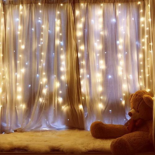 Ipow Cortina de luces 304 LEDs 3x3㎡ Blanco Cálido, Guirna