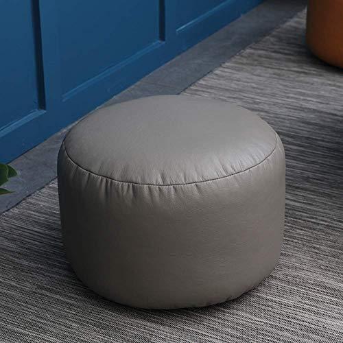 FSYGZJ Puf otomano, puf de Piel sintética Cojín cómodo reposapiés Redondo puf Silla decoración reposapiés tapizado Taburete Tatami Gris 45x28cm (18x11inch)