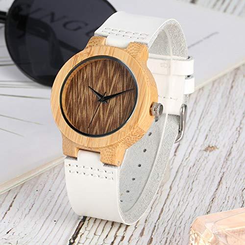 UIOXAIE Reloj de Madera Reloj Retro de Madera de bambú con Esfera de café para Mujer, Reloj de Banda de Cuero Blanco Minimalista, Reloj de Vestir de Cuarzo para Mujer