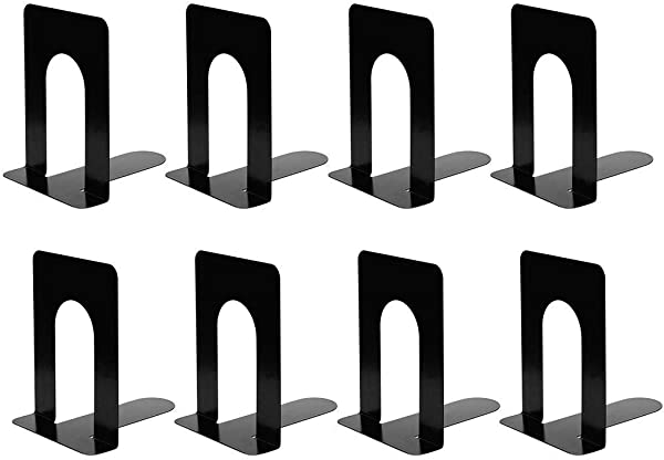 Metal Bookends Heavy Duty Black Bookend Support 6 5 X 5 X 5 7 Inch Set Of 4 Pairs