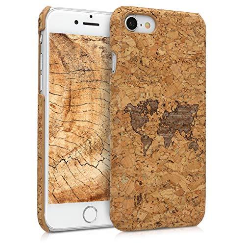 kwmobile Cover in Sughero Compatibile con Apple iPhone 7/8 / SE (2020) - Backcover Protettiva - Case Protezione Rigida Smartphone - Contorni Marrone Chiaro