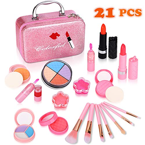 Auney 21Pcs Makeup for Girls Kids Makeup Kit Girl Real Pretend Play Makeup Toy for Toddler Washable Makeup Set for Girl Play Game Halloween Christmas Birthday Party