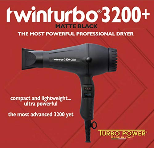 Turbo Power Twin Turbo 3200 + Plus Matte Black 324, Black, Professional Hair Dryer