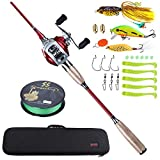 Sougayilang Fishing Baitcaster Combos, Lightweight Baitcasting Combo Fishing Rod and 11+1BB Fishing Reel Right Left Hand for Travel 4 Pieces Saltwater Freshwater-Right Hand/6.9FT with Carrier Bag