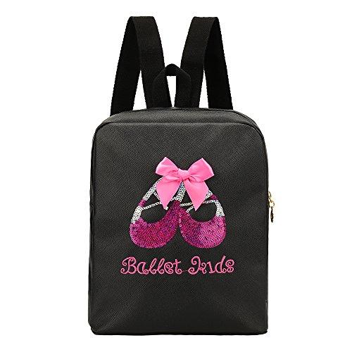 VILLAVIVI Bolsos de Ballet Deportes Bolsa de Danza para Niñas Mayores (Negro con Arco Rosado y Lentejuelas)