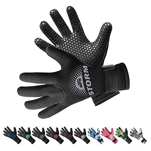 BPS 3mm Neoprene Diving Gloves with Anti Slip Palm - Full Finger Gloves for Scuba Diving, Snorkeling, Surfing, Paddleboarding, and Other Water Sports - for Kids and Adults (Black / Lilac Grey, XL)