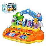 DREAMADE Musikspielzeug für Baby Kleinkinder, Babyspielzeuginkl. 5 Musik Instrumente, Klavier Keyboard mit Tierfamilie und Licht, TastaturPiano Lernspielzeug für Babys ab 10 Monaten