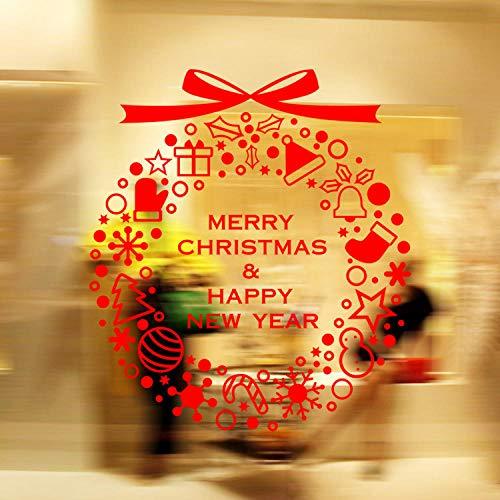 Weihnachtsfenster Wandaufkleber,Cartoon Weihnachten Rote Buchstaben Girlande Fenster Klammert Sich Pvc-Aufkleber Für Home Shop Partei Spiegel Dekoration Kinderzimmer Küche Zu Hause Fensteraufklebe