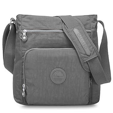Oakarbo Nylon Crossbody Purse Multi-Pocket Travel Shoulder Bag (1301 Cool gray)