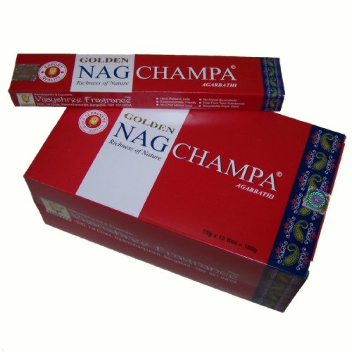 Vijayshree Fragrance - Bâtonnets d'encens indiens Golden Nag Champa 12 boîtes Parfum Nagchampa