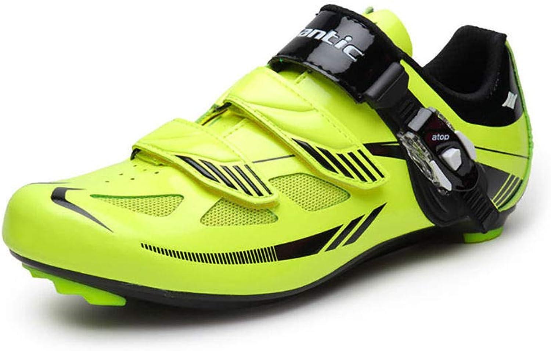 FidgetGear Santic Mens Road Bike Bicycle Lock shoes Look SPDSL System Fluorescent Yellow
