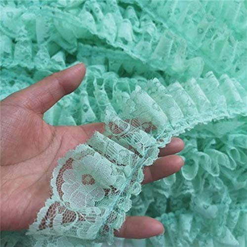 6Cm Wide Pleated 3D Guipure Lace Fabric Ruffle Trims Embroidery Flowers Cord Lace Fringe Ribbon Diy Sewing Applique Supplies,Light Green