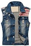 CAMO COLL Men's Sleeveless Lapel Denim Vest Jacket...