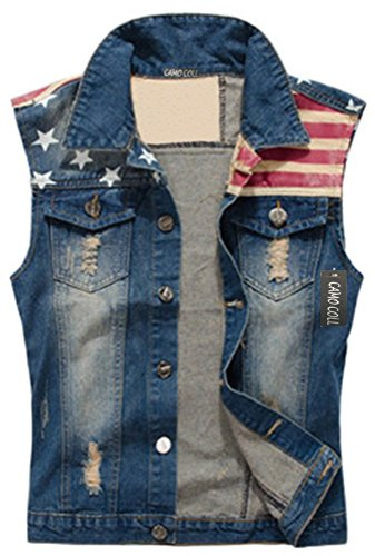 CAMO COLL Men's Sleeveless Lapel Denim Vest Jacket (L, Blue)