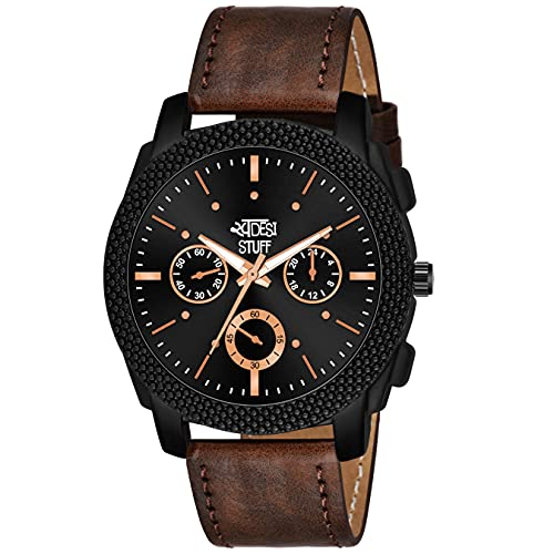Swadesi Stuff Black Dial Brown Leather Strap Stylish Analog Watch for Men