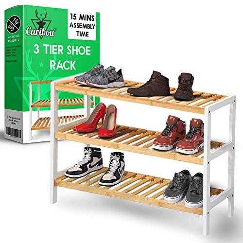 Caribou - Estante moderno para zapatos, fácil de construir con 3 estantes de bambú, hasta 12 pares, zapatos de madera/soporte de entrenador y organizador, perfecto para pasillo, vestíbulo, dormitorio